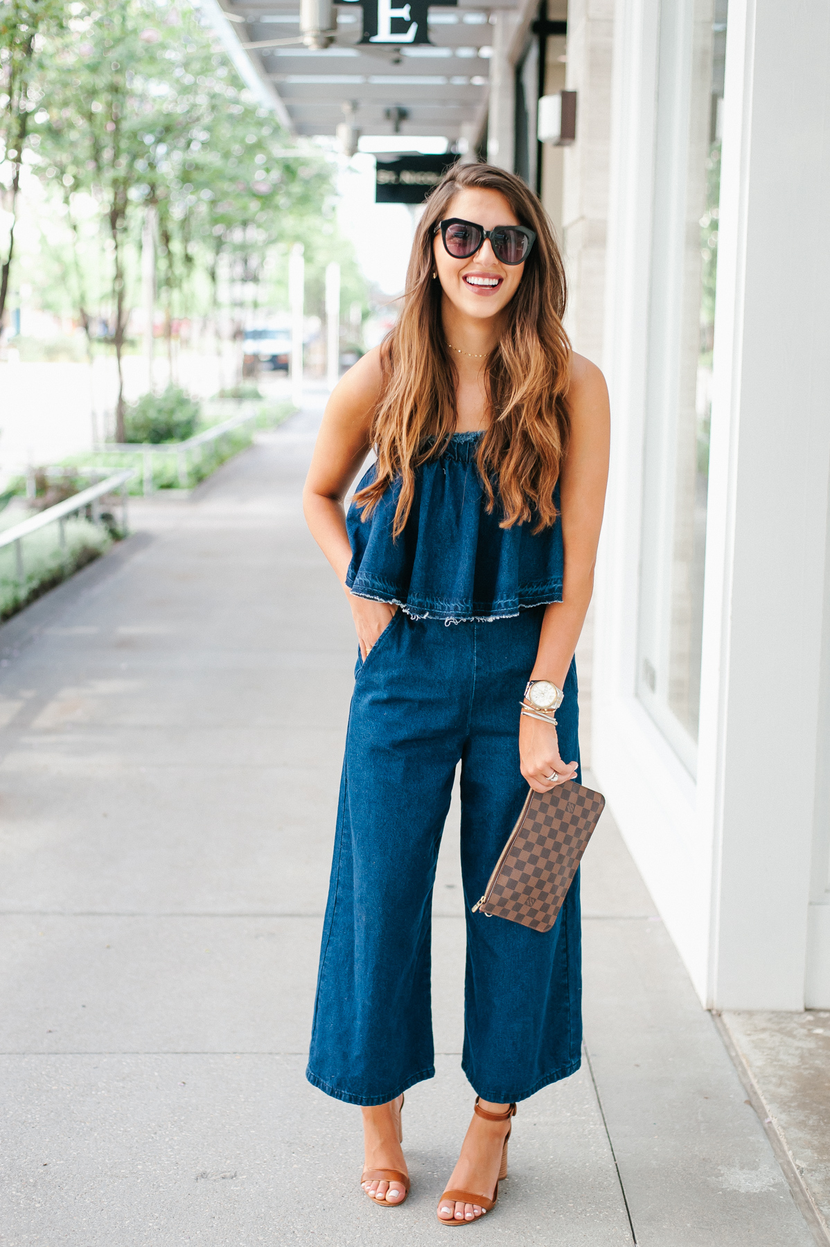 Dress Up Buttercup, Dede Raad, Houston blogger, fashion blogger, J.O.A. Strapless Crop Denim Jumpsuit, Denim Denim Jumpsuit