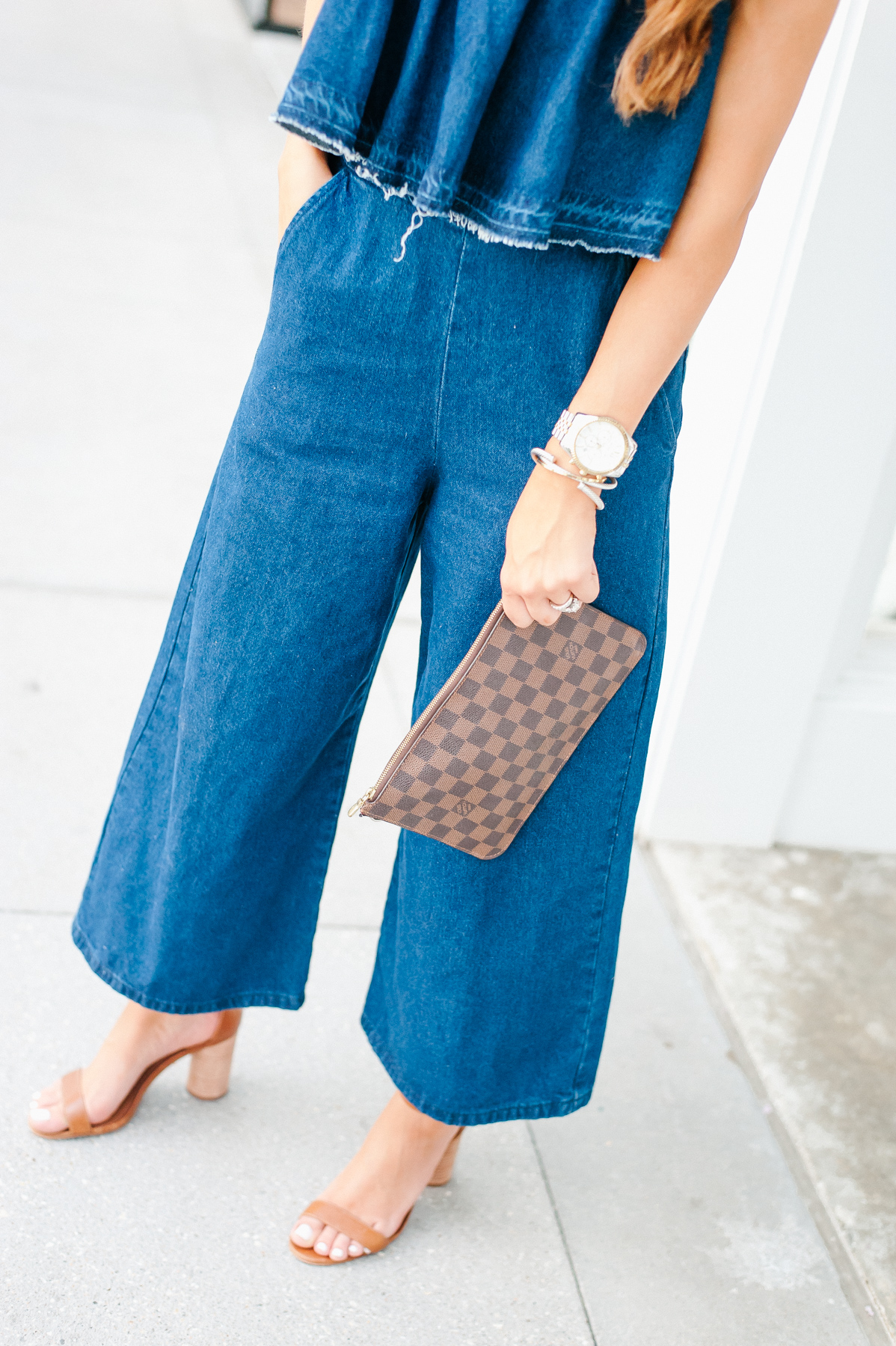 Dress Up Buttercup, Dede Raad, Houston blogger, fashion blogger, J.O.A. Strapless Crop Denim Jumpsuit