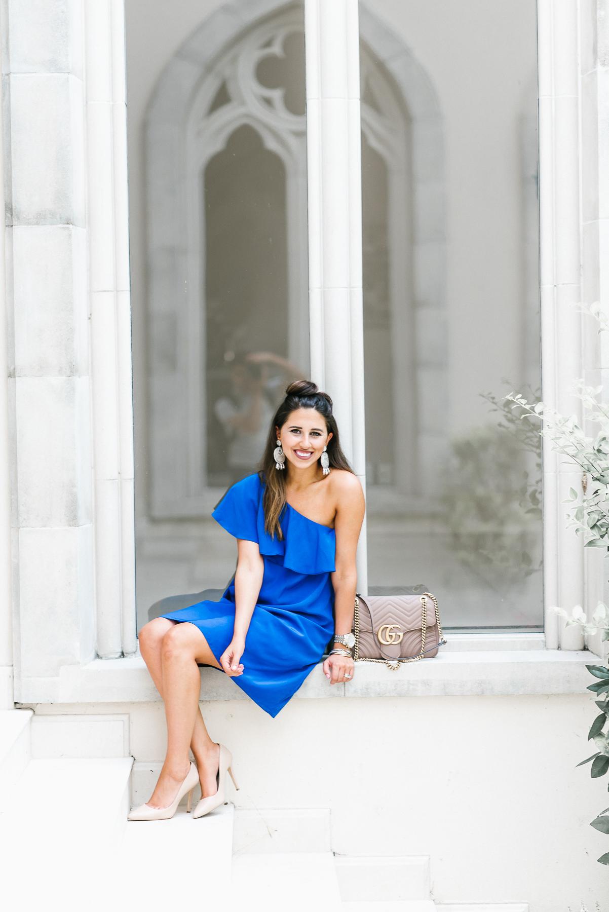 Dress Up Buttercup, Dede Raad, Houston Blogger, Fashion Blogger, One-Shoulder Shift Dress