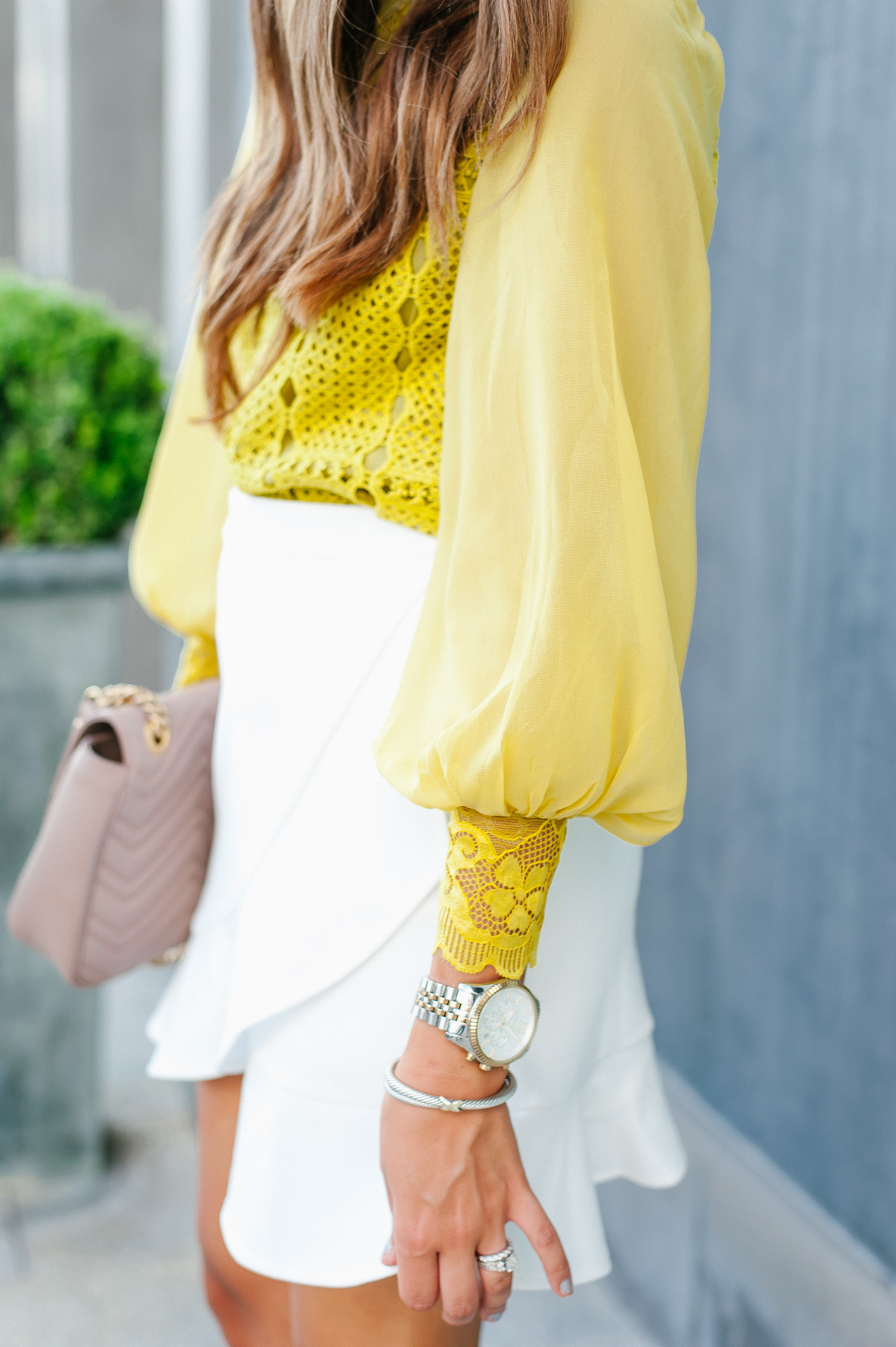 Dress Up Buttercup, Dede Raad, Houston blogger, Fashion blogger, White skirt with pop of color