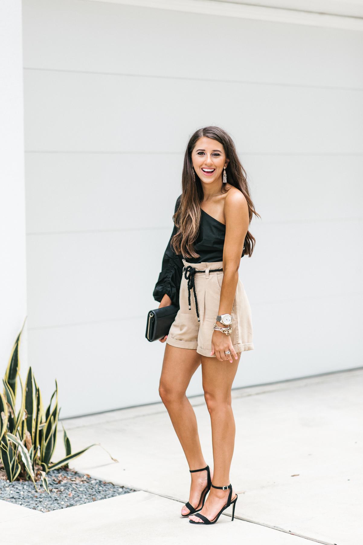 Dress Up Buttercup, Dede Raad, Houston Blogger, fashion blogger, black one shoulder top