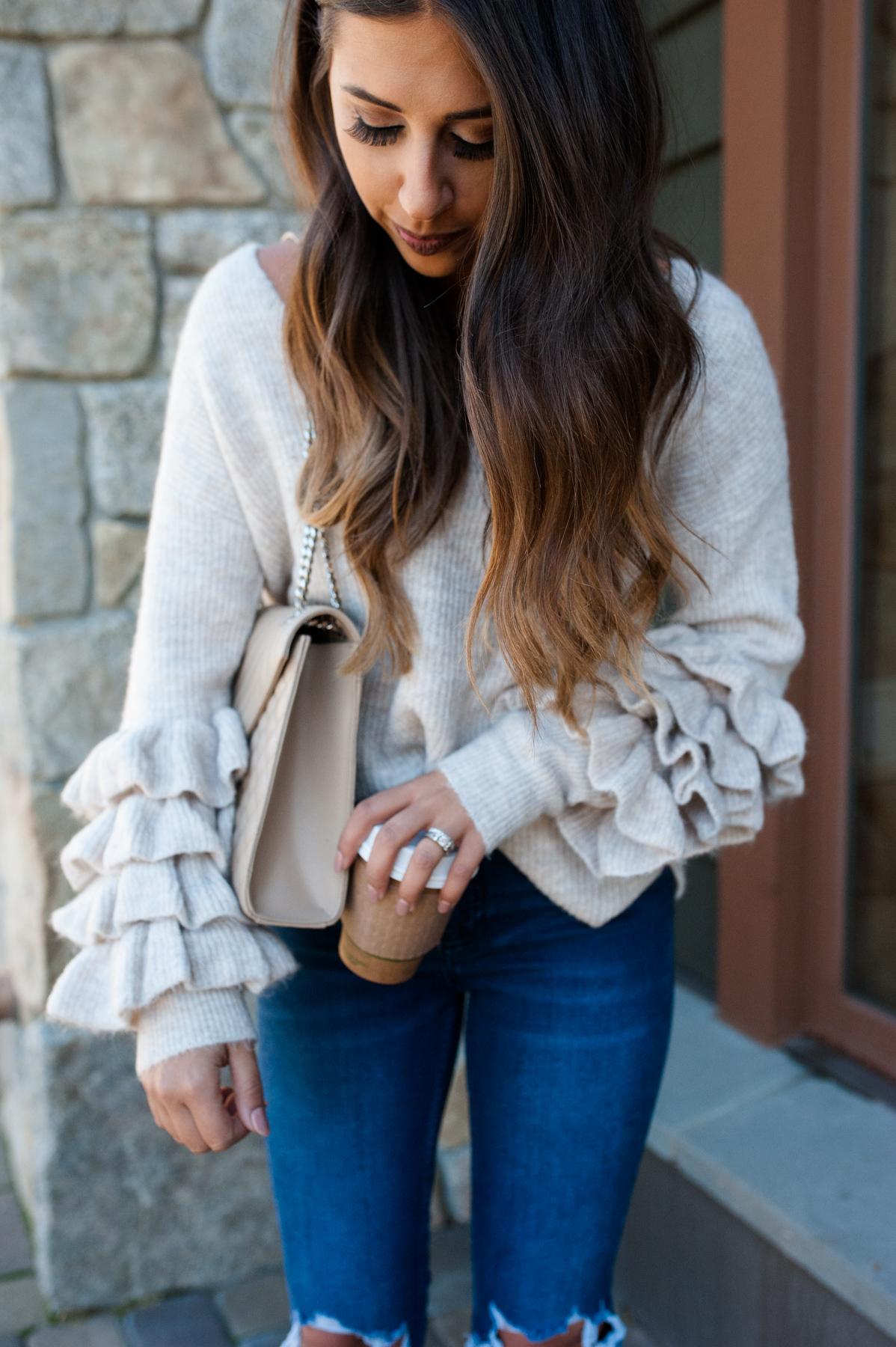 Ruffle Long Sleeve Sweater   Dress Up Buttercup
