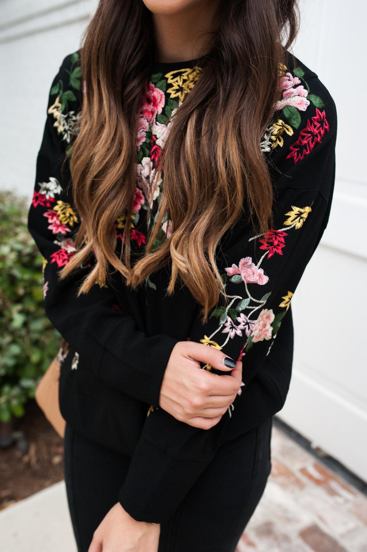 Embroidered Flower Sweatshirt | Dress Up Buttercup