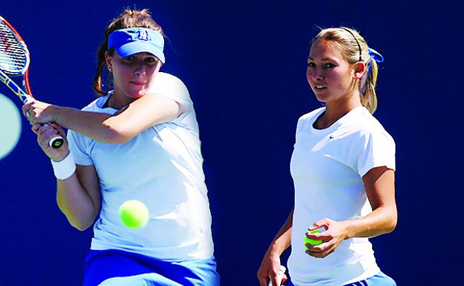 Mary Clayton and Ester Goldfeld beat the nation's No. 2 doubles team in Duke's win.