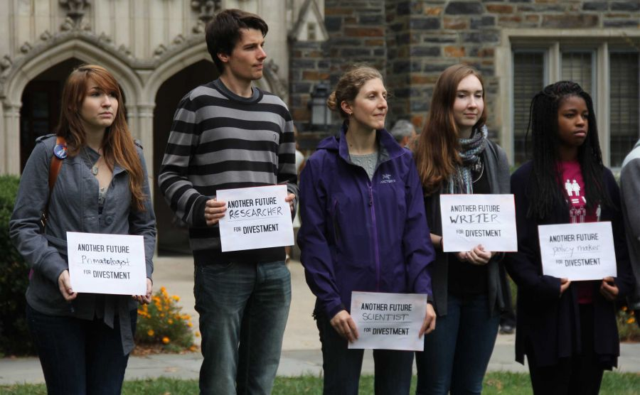 Divest Duke held a rally in front of the Allen Building to call on the University to divest from fossil fuels last year.