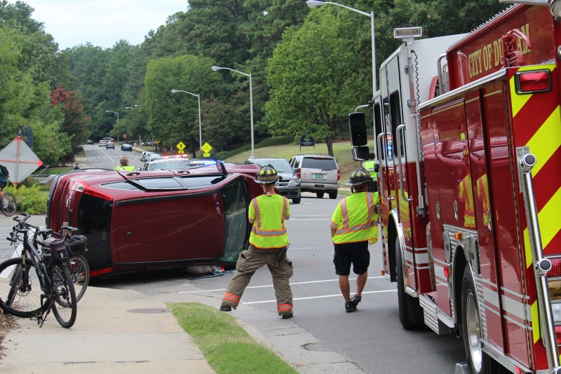 A car accident caused a car to flip over on campus Sunday afternoon.