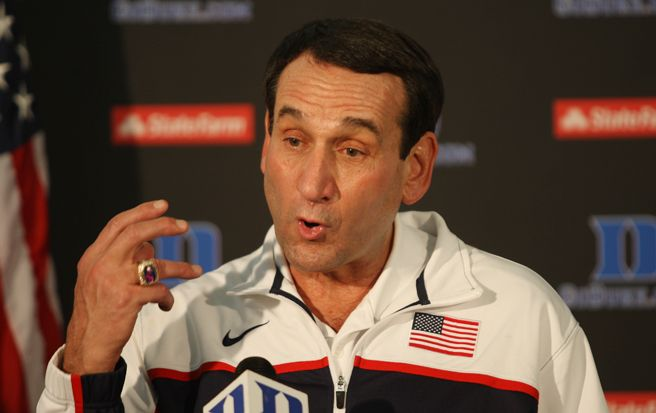 Duke basketball coach Mike Krzyzewski spoke to the media at Raleigh-Durham International Airport after returning from London.