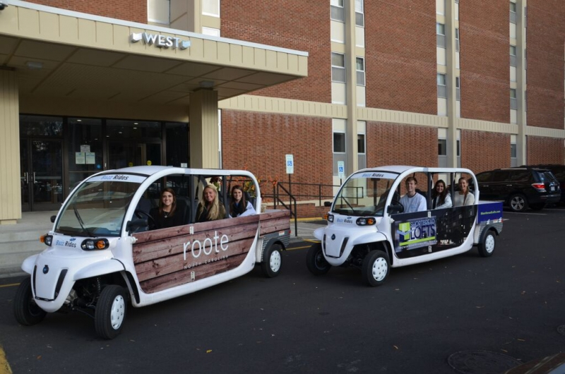 Seniors Cameron Winders and JD Herrman are bringing a program to campus that provides free rides using electric vehicles.