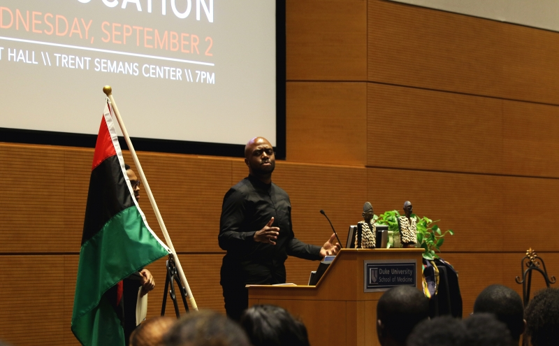 Seth Pearson, president of the Black Graduate and Professional Student Association, was one of the many speakers at the first annual Black Convocation Wednesday.