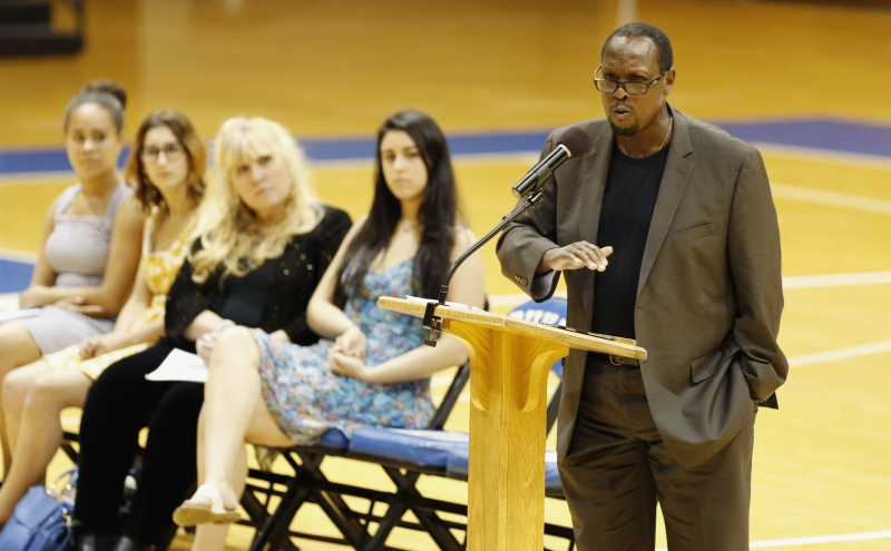 Mark Anthony Neal, professor of African and African American studies, addressed the sophomore class Tuesday evening at Cameron Indoor Stadium.