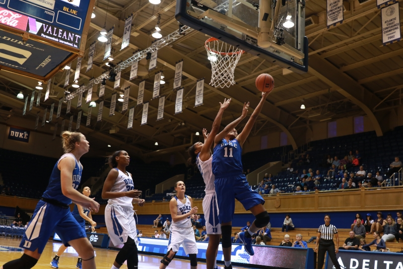 Sophomore Azura Stevens led Duke attacked the rim aggressively and converted 7-of-9 attempts from the free throw line to finishwith a team-high17 points in the team's annual Blue-White scrimmage Saturday.