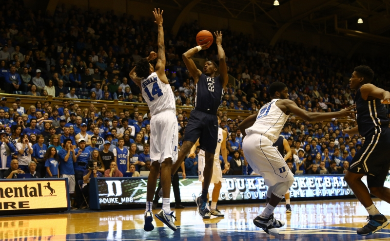 Reigning Ivy League Player of the Year Justin Sears helped the Bulldogs control the paint for most of the first half.