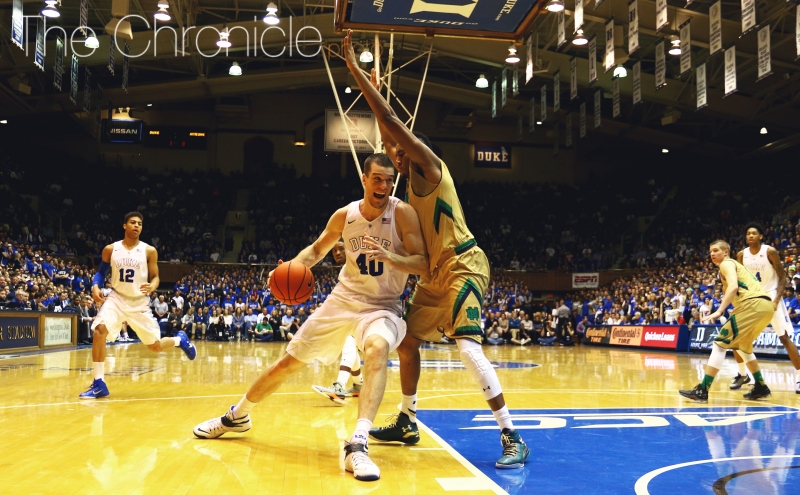 Center Marshall Plumlee couldn't get his hands on a couple of important loose balls, allowing Notre Dame to close out the game Saturday.