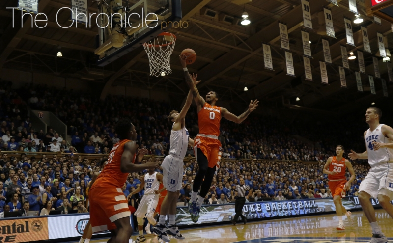 Former Blue Devil Michael Gbinije was one of four Syracuse players to finish with 14 points as the Orange dealt Duke a third straight defeat Monday.