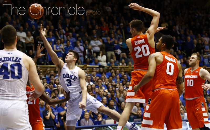 Grayson Allen scored 18 points for the Blue Devils Monday, but couldn't get a runner to fall in the waning seconds of the second half that would have tied the game.