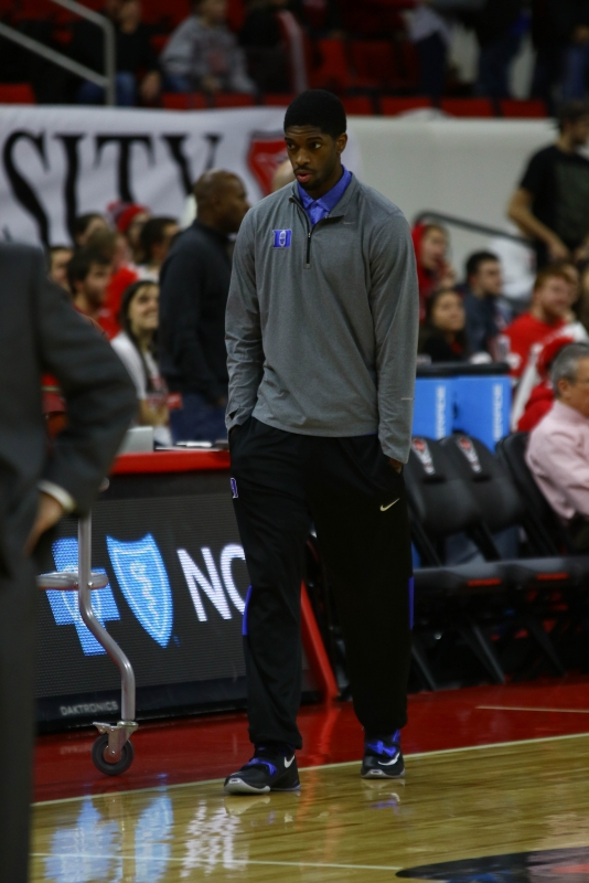 Senior Amile Jefferson patrolled the Duke sideline without a walking boot Saturday, an encouraging sign for the depth-constrained Blue Devils.