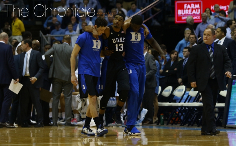 Junior Matt Jones suffered a left ankle injury with 7:43 left in the first half and did not return.