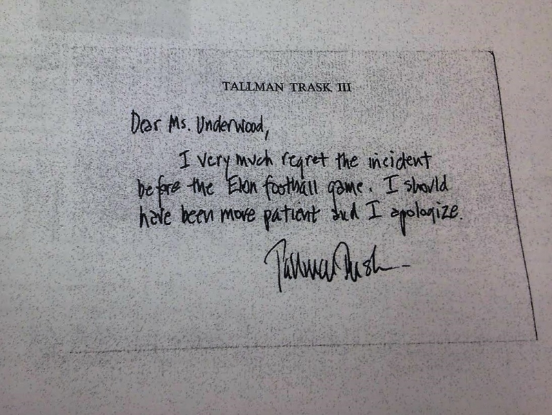 Tallman Trask's signed apology note