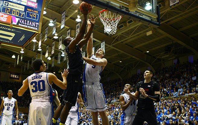 Mason Plumlee held Maryland's Alex Len to just eight points when these two teams first met.