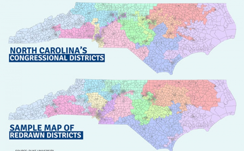 A 2014 map provided by the University illustrates the shifts that can occur because of congressional redistricting in North Carolina.