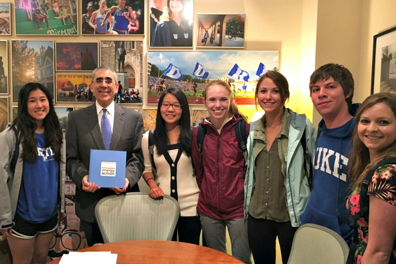 The Duke Climate Coalition met with university officials to deliver student petitions in support of renewable energy and third-party energy sales.