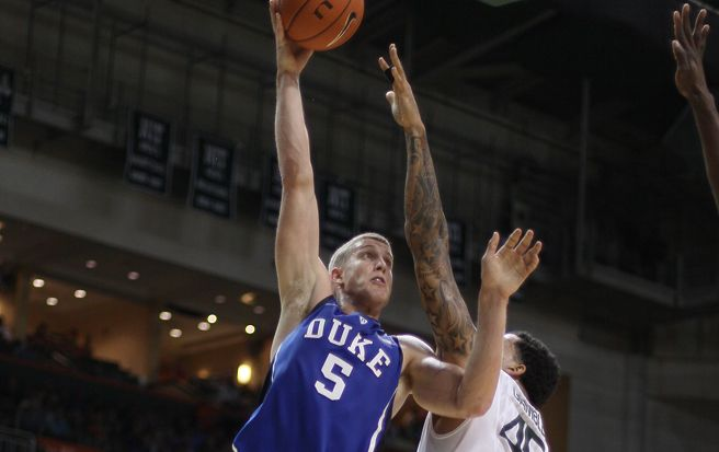 Mason Plumlee wil have a tough matchup in the paint against Maryland's 7-foot-1 center Alex Len.