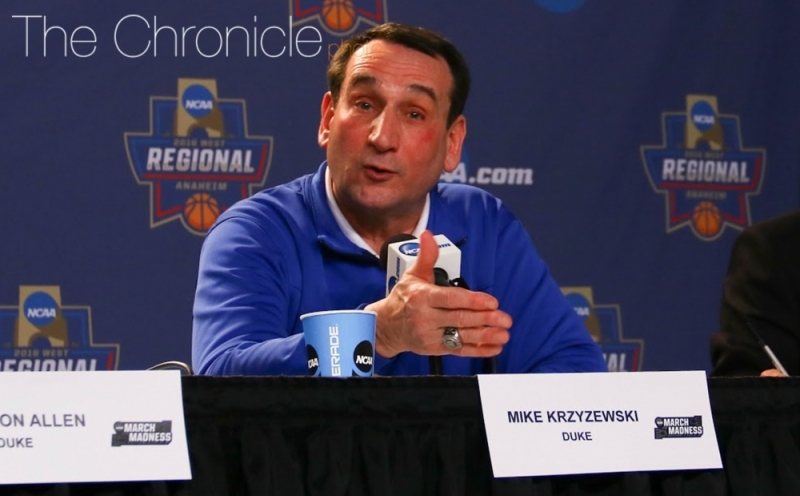 Head coach Mike Krzyzewski had surgery to repair a hernia more than a month after undergoing successful knee replacement surgery.