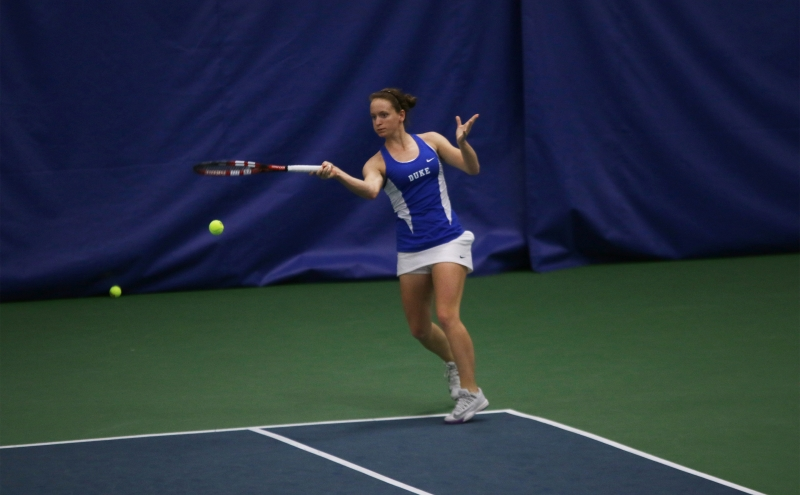 Junior Chalena Scholl will once again play in the top singles spot for the Blue Devils with senior Beatrice Capra still out due to injury.