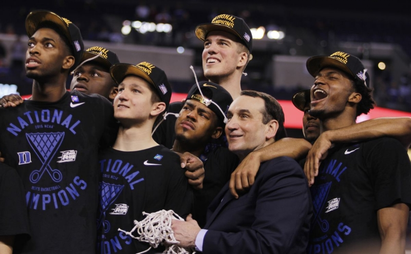 Duke celebrated its fifth national title after a dramatic 68-63 win against Wisconsin.