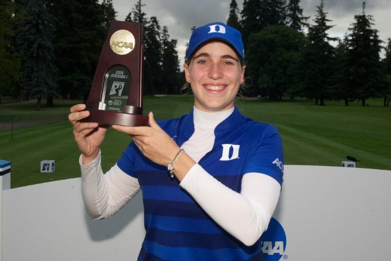 Virginia Elena Carta won her first tournament Monday on college golf's biggest stage.