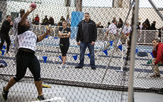 Sophomore Michelle Anumba won the shot put with her throw of 17.18m, a new program record.