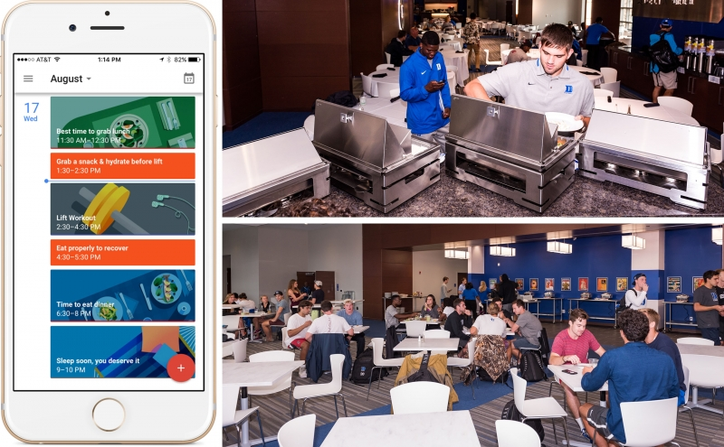 Brainbuild (left) is an app that provides an athletic eating schedule. The training tables (right) where athletes gather for nutritious meals.