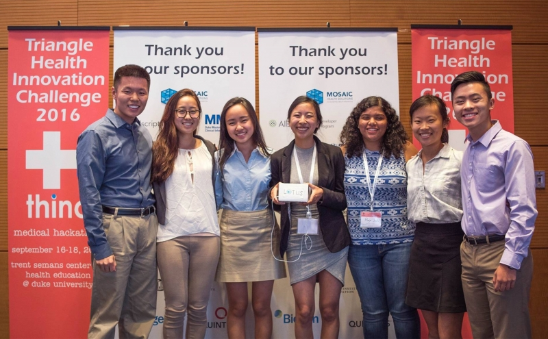 The second place team made up of Duke and UNC students designed a portable virtual reality device that could help treat PTSD.