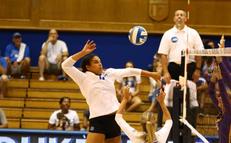 Senior Jordan Tucker recorded double-digit kills in both games this weekend to power the Blue Devil offense.