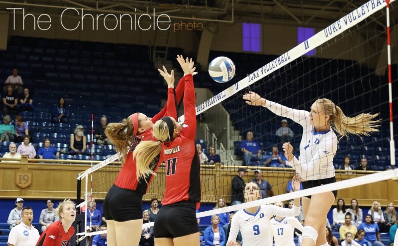 Sophomore middle blocker Leah Meyer posted a career-high 21 kills in Friday's loss.