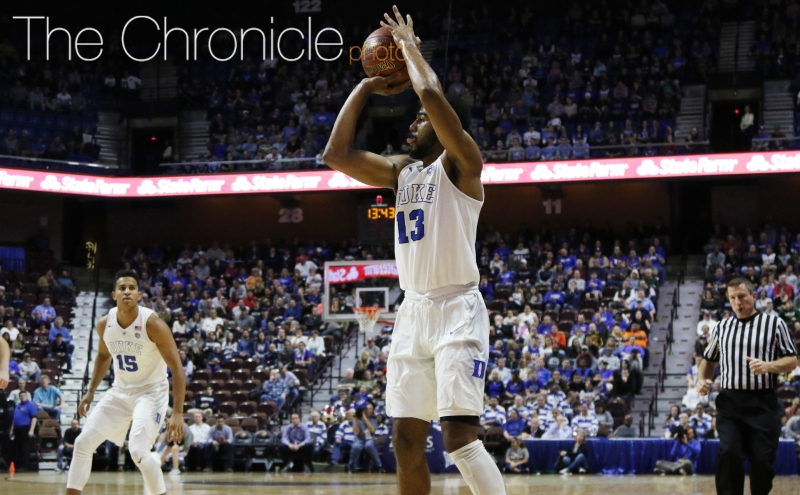 Senior Matt Jones knocked down three of his first four 3-pointers to steady the Blue Devils after they lost another frontcourt player to injury in the first half.