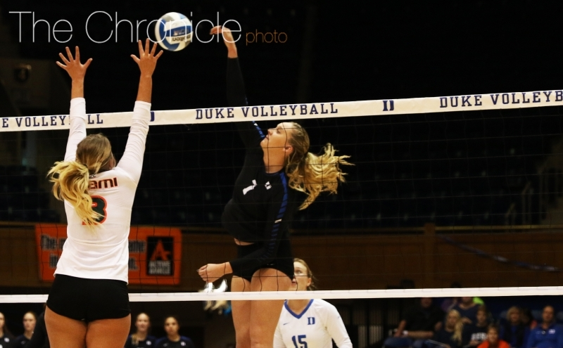 Sophomore middle blocker Leah Meyer had another strong game Saturday but the Blue Devils suffered their second straight loss.