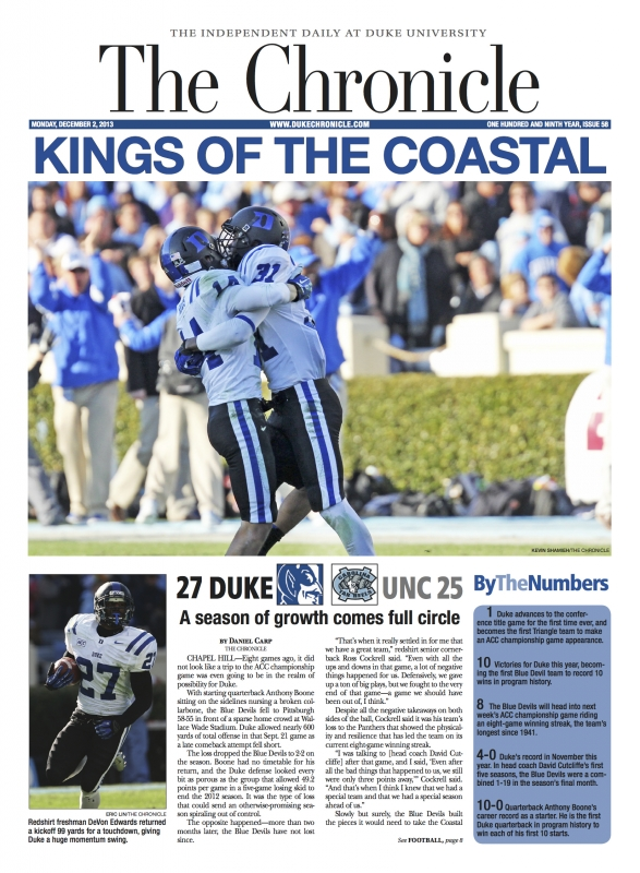 This week in Duke history: Duke football clinches Coastal Division with win in Chapel Hill