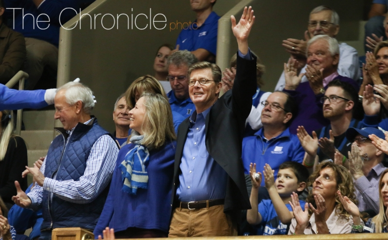 President-elect Vincent Price attends Duke-Maine as Blue Devils mourn passing of former president Keith Brodie