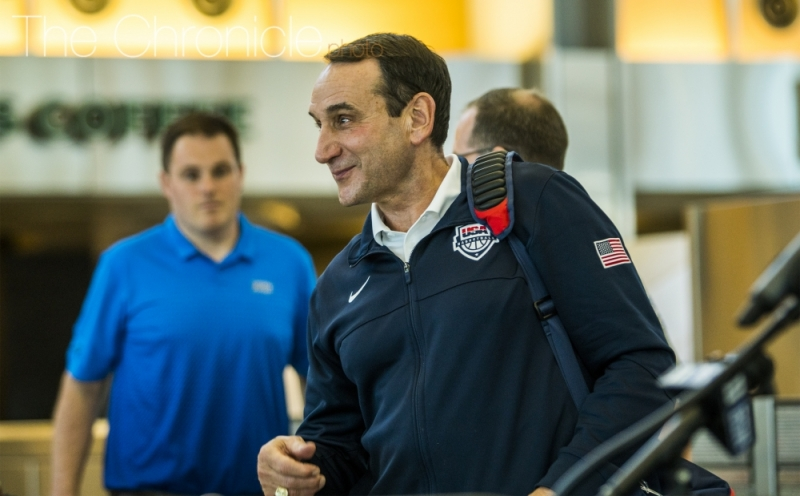 Head coach Mike Krzyzewski made history by becoming the first head coach ever to win three Olympic gold medals with USA Basketball.