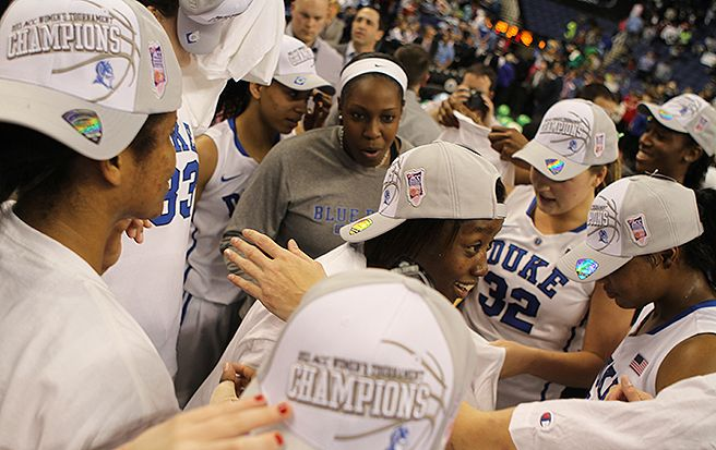 The Blue Devils celebrate after a 92-73 win against North Carolina for the program's third ACC tournament title in the last four years.
