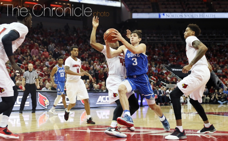 Junior Grayson Allen carried Duke's offense for much of the second half, but Louisville was able to prevent him from setting up his teammates for easy baskets.