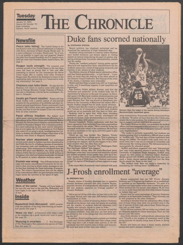 This week in Duke history: Cameron Crazies scolded for obscene taunts at Maryland's Herman Veal