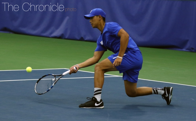 Vincent Lin and the Blue Devils lost the doubles point but managed to bounce back and win all six singles matches.
