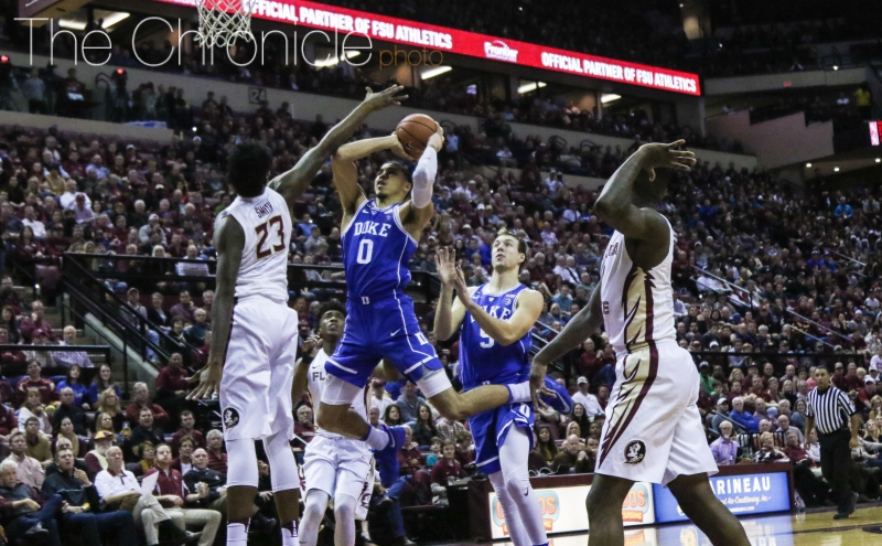 Freshman Jayson Tatum and the Blue Devil rookies have had to quickly adjust to finishing over players with similar length and athleticism during ACC play.