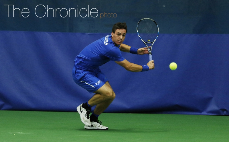 Freshman Robert Levine and the Blue Devils struggled in singles without junior Nicolas Alvarez.