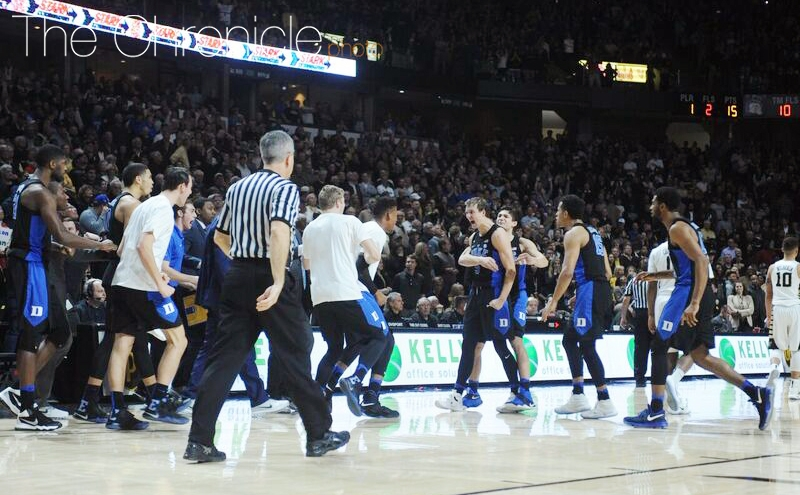 The Blue Devils celebrated after Kennard's go-ahead jumper, then preserved their first lead of the second half with a defensive stop.