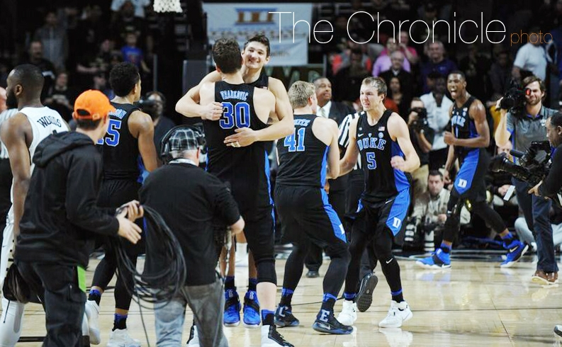 Grayson Allen and his teammates celebrated an improbable, come-from-behind victory at Wake Forest Saturday afternoon.