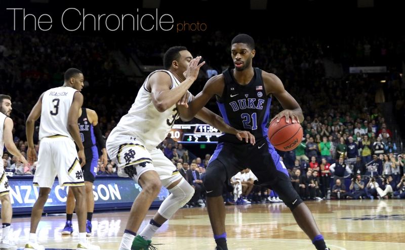 Graduate student Amile Jefferson scored six points down low early on as the Blue Devils controlled the paint in the first half.