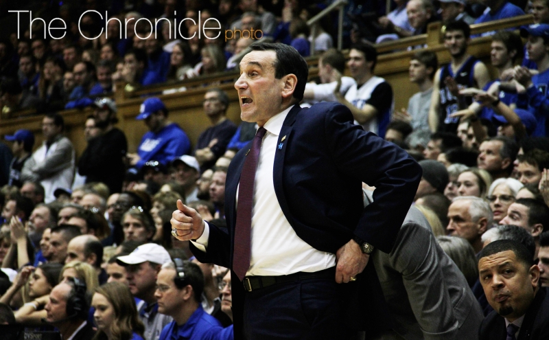 Duke head coach Mike Krzyzewski returned to the sidelines for the first time since his Jan. 6 back surgery.